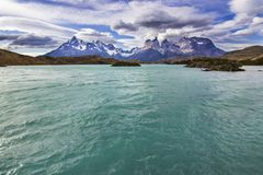 Torres del  Paine National Park, maybe one of the nicest places on Earth. Here we can see the `Cuernos del Paine` stock images
