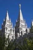 Torres del este del templo de Salt Lake Imagenes de archivo
