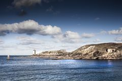 Torres del faro y costa costa alemana de la arcón en pared atlántica, foto de archivo libre de regalías