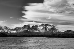 Torres del Paine in Black and White, Patagonia, Chile stock photo