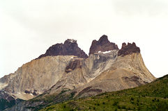 Torres del Paine, Chile. A rocky mountain with layers in Torres del Paine national park, Chile stock image