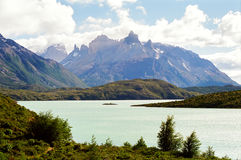 Torres del Paine, Chile. Lake and mountains in the Torres Del Paine trek, Chile stock images