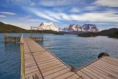 Torres del Paine, Chile, sikt från Explora Arkivbilder
