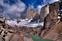 Torres del paine HDR. Torres del paine in Chilean National Park with lake HDR Stock Images