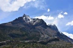 Torres del Paine Cuernos lava tube. Patagonia Chile trek trekking glacial mountain hike W granite national park stock photography