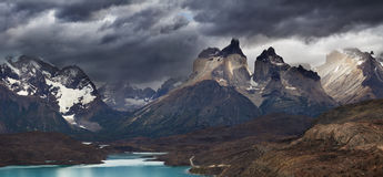 Torres del Paine, Cuernos mountains. Torres del Paine National Park, Lake Pehoe and Cuernos mountains, Patagonia, Chile stock photo