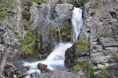 Torres del Paine Cuernos refugio waterfall. Patagonia Chile trek trekking glacial mountain hike W granite national park royalty free stock images