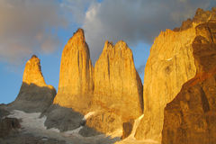 Torres del Paine at dawn, sunrise light Royalty Free Stock Photo
