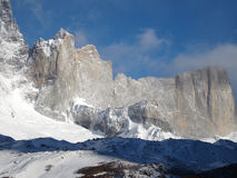 Torres del Paine in fall, Chile. Valle del frances lit by the early morning sun Royalty Free Stock Image