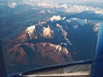 Torres del Paine från luften Arkivbild