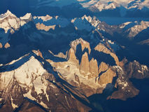 Torres del Paine från luften royaltyfria bilder