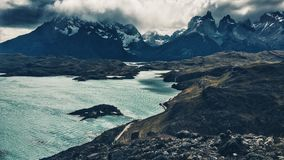 Torres del Paine. Granite towers, lake and mountains of chilean national park Royalty Free Stock Photography