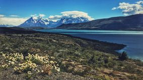Torres del Paine. Granite towers, lake and mountains of chilean national park Royalty Free Stock Image