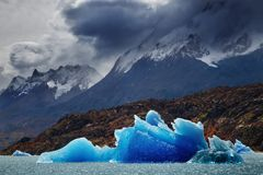 Torres del Paine, gris del lago Foto de archivo libre de regalías