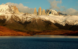 Torres del Paine and Lake Azul Stock Images