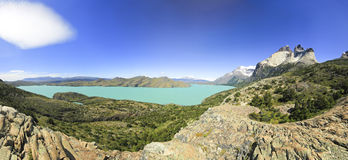 Torres del paine lake nordenskjold in patagonia, rock walls Cuernos. Panorama of torres del paine lake nordenskjold in patagonia with rock walls Cuernos royalty free stock photography