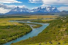 Torres del Paine Landscape, Patagonië, Chili stock afbeelding
