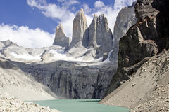 Torres del paine mountain and lake Stock Images