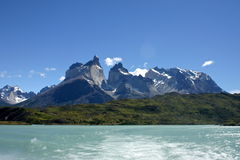 Torres del paine mountain peaks. In patagonia royalty free stock photos
