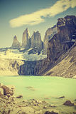 Torres del Paine mountains and lake, Chile, retro filter. Royalty Free Stock Photos