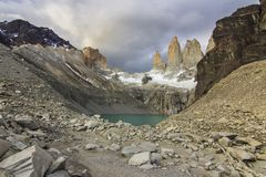 Torres del Paine National Park, maybe the best sunrise in the world! and without seeing the sun! stock images