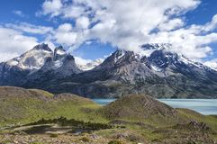 Cuernos del Paine in Torres Del Paine National Park. Torres Del Paine National Park is a national park encompassing mountains, glaciers, lakes, and rivers in royalty free stock photo