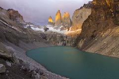 Torres del Paine National Park, maybe the best sunrise in the world! and without seeing the sun! stock image