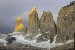 Torres del Paine National Park, maybe the best sunrise in the world! and without seeing the sun! stock photos