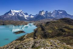 Torres del Paine National Park, maybe the best sunrise in the world! and without seeing the sun! royalty free stock photos