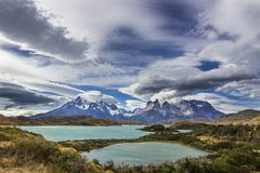 `Torres del Paine` National Park, maybe one of the nicest places on Earth. Here we can see the `Cuernos del Paine` Paine Horns, royalty free stock photography
