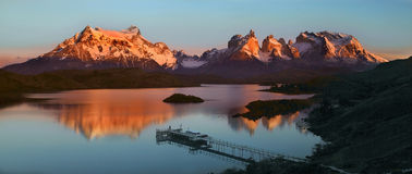 Torres del Paine National Park - Patagonia - Chile. Sunrise in Torres del Paine National Park in Patagonia in southern Chile, South America royalty free stock image