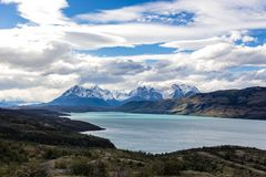 Torres del Paine National Park, Patagonia, Chile. The Turquoise Lake Pehoe and the Majestic Cuernos del Paine Horns of Paine. Torres del Paine National Park stock photography