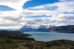 Torres del Paine National Park, Patagonia, Chile. The Turquoise Lake Pehoe and the Majestic Cuernos del Paine Horns of Paine. Torres del Paine National Park stock image