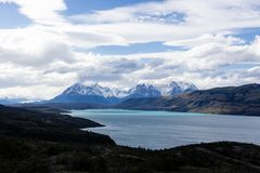 Torres del Paine National Park, Patagonia, Chile. The Turquoise Lake Pehoe and the Majestic Cuernos del Paine Horns of Paine stock photography