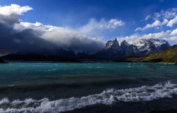 Torres del Paine national park,Patagonia,Chile. View of the horns  los Cuernos del Paine  in Torres del Paine national park, Patagonia , Chile.Lake Pehoe in the Royalty Free Stock Photography