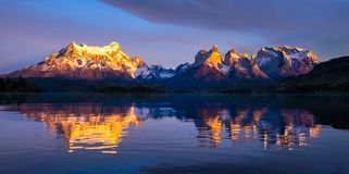 Torres del Paine National Park during sunrise royalty free stock image