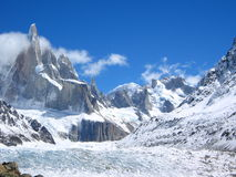 Torres Del Paine NP. Torres Del Paine on a clear day complete with glacier Stock Images