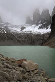 Torres del Paine over the lake Stock Photo