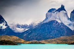 Torres del Paine in Patagonia, Chile - Cuernos del Paine. Torres del Paine, Chile. Autumn austral landscape in Patagonia with Lago Pehoe and Cuernos del Paine in royalty free stock photo