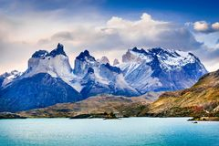 Torres del Paine in Patagonia, Chile - Cuernos del Paine. Torres del Paine, Chile. Autumn austral landscape in Patagonia with Lago Pehoe and Cuernos del Paine in stock photography