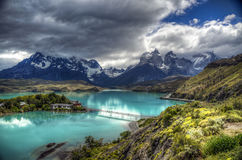 Torres del Paine, Patagonia, Chile. The Torres del Paine are the distinctive three granite peaks of the Paine mountain range or Paine Massif. They extend 2, 850 stock image