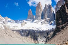 Torres del Paine peaks view, Chile landmark. Torres del Paine peaks view, Chile. Chilean Patagonia landscape. Base Las Torres viewpoint royalty free stock images