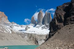 Torres del Paine peaks view, Chile landmark. Torres del Paine peaks view, Chile. Chilean Patagonia landscape. Base Las Torres viewpoint cordillera national park royalty free stock photos