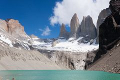 Torres del Paine peaks view, Chile landmark. Torres del Paine peaks view, Chile. Chilean Patagonia landscape. Base Las Torres viewpoint cordillera national park stock photography