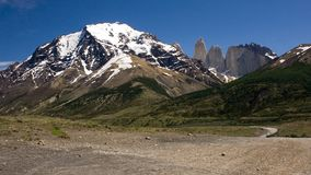 Torres del Paine peaks are visible from a distance Stock Photos