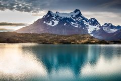 Torres del Paine and Pehoe Lake, Patagonia, Chile Stock Photography