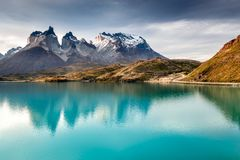 Torres del Paine and Pehoe Lake, Patagonia, Chile Stock Photos