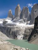 Torres Del Paine (portrait). The iconic Torres (towers) in Torres Del Paine National Park - Chile royalty free stock photo