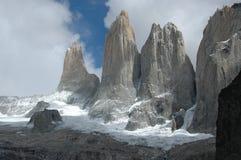 Torres del Paine spitsen stock afbeelding