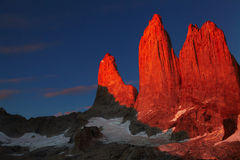 Torres del paine at sunrise stock images